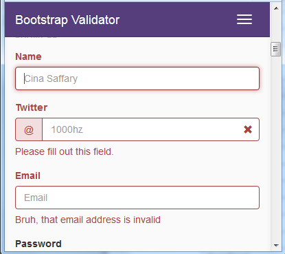 BootstrapValidator